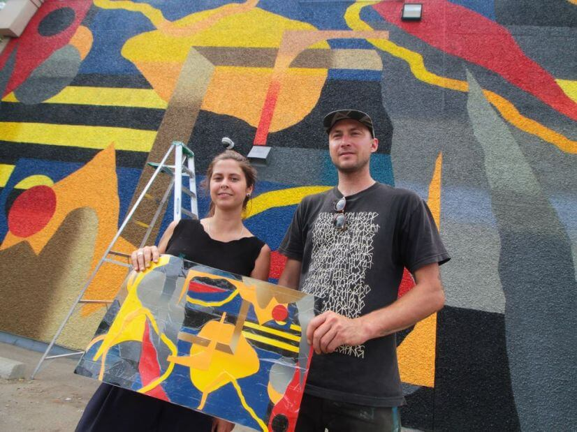 124 Street Couple Pose with Art | Edmonton, Alberta
